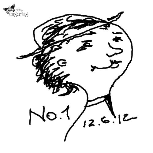 Skizze eines Kopfes mit Hut